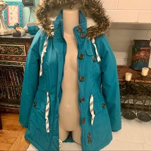 NWT BELLFIELD TEAL HOODED PARKA JACKET FUR TRIM